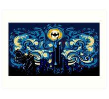 Dark Blue Starry Knight Abstract Art Print