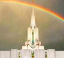 Jordan River Temple Under the Rainbow 30x20 Sticker