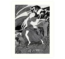 Woman with a flag II (Ships) Art Print