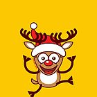 Cool Xmas Reindeer Wearing Santa Hat by Zoo-co