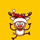 Cool Xmas Reindeer Wearing Santa Hat by Zoo-co