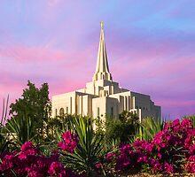 Gilbert Arizona Temple - Red Flower Sunrise - 24x20 by Ken Fortie