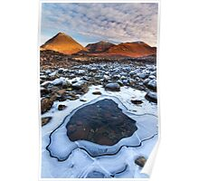 Sligachan. Red Hills in Winter. Isle of Skye. Scotland. Poster