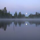 Moon set at dawn by Susanna Hietanen
