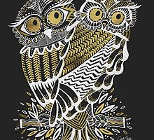 Owls – Gold & White on Charcoal by Cat Coquillette