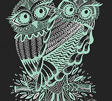 Owls – Silver & Mint on Charcoal by Cat Coquillette