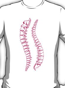 Pink Vertebrae on Gold T-Shirt