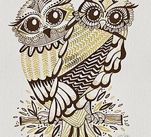 Owls – Gold & Brown by Cat Coquillette