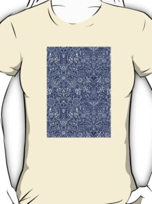Detailed Floral Pattern in White on Navy T-Shirt