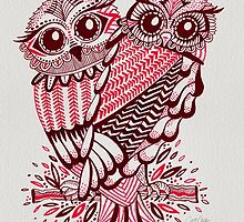 Owls – Maroon & Pink by Cat Coquillette