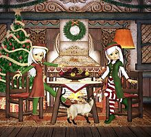 Gingerbread Elves House Christmas Card by xgdesignsnyc