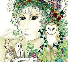 Blodeuedd, Celtic woman of owls and flowers by gwendavies