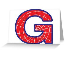 G letter in Spider-Man style Greeting Card