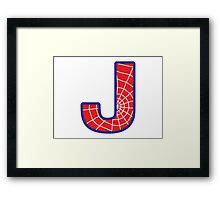 J letter in Spider-Man style Framed Print