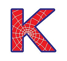K letter in Spider-Man style Photographic Print