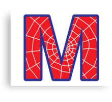 M letter in Spider-Man style Canvas Print