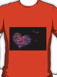 Love is...neon poster on black T-Shirt