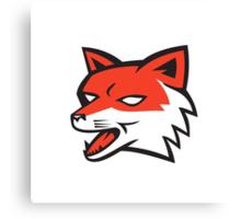 Red Fox Head Growling Retro Canvas Print