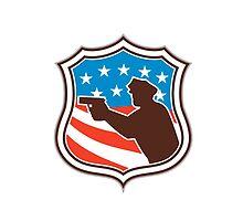 Policeman Silhouette Pointing Gun Flag Shield Retro by patrimonio