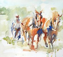 Clydesdale Pair at Work by Nina Smart