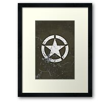 Vintage Look US Army White Star Emblem Framed Print