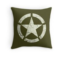 Vintage Look US Army White Star Emblem Throw Pillow