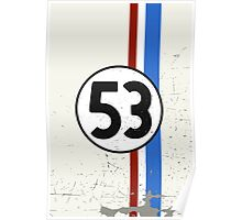 Vintage Look 53 Car Race Number Graphic Poster