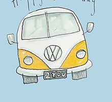 Happy Birthday VW Camper Van  by AndyLanhamArt
