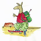 Skateboard Kangaroo Backpacker  by AndyLanhamArt