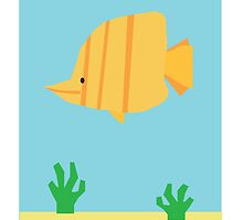 Stripy Yellow Fish Under The Sea by JoshCooper