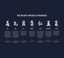 The 7 Virtues of Bushido (white text) Kids Clothes