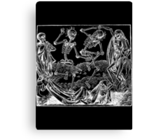 Medieval Dance of Death - Danse Macabre - White on Dark Canvas Print