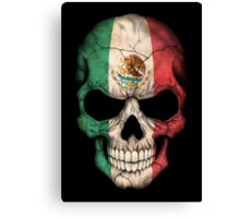 Mexican Flag Skull Canvas Print