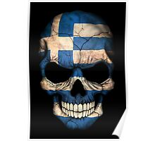 Greek Flag Skull Poster