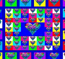 Blue Floral Hearts Designer Art Gifts by innocentorigina