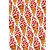 Strawberry Soft Serve Pattern Photographic Print
