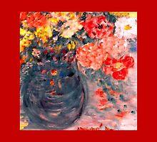 Flowers in Slate Vase by Marie-Jose Pappas  by innocentorigina