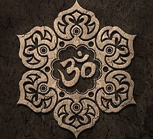 Aged Stone Lotus Flower Yoga Om by Jeff Bartels