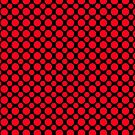Red Polka Dots On Black Background by Mythos57