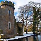 Whittington Castle with snow by Sheila Laurens