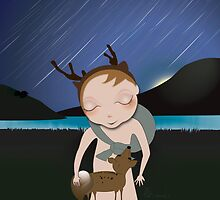 Deery Fairy Meteor Shower with baby deer by carmanpetite