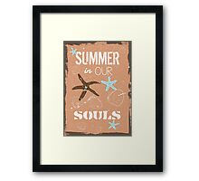 Summer quote poster the beach mood Framed Print