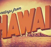 Retro Greetings From Hawaii Postcard by mrdoomits
