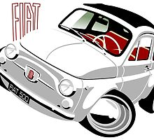Classic Fiat 500F caricature white by car2oonz