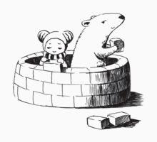 Girl and a polar bear building Kids Clothes