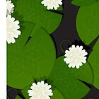 Background with watter lillies pattern by Richard Laschon