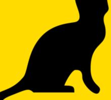 Cat Crossing Traffic Sign - Diamond - Yellow & Black Sticker