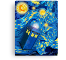 Space and time traveller phone box Starry the night Cartoons Canvas Print