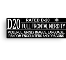 This Gamer is Rated D20 Canvas Print