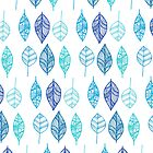 Blue & Turquoise Leaf pattern by Didi Kasa